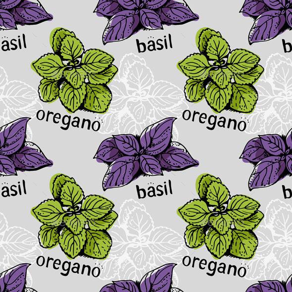 Basil and Oregano Pattern - Food Objects