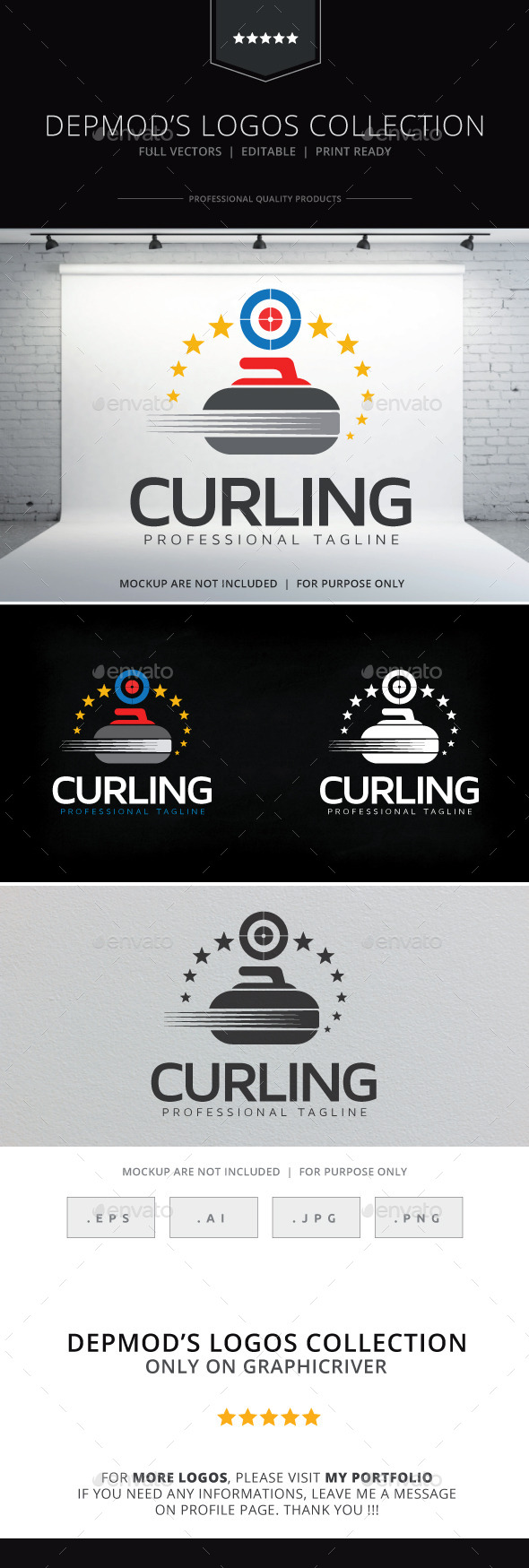 Curling Logo - Objects Logo Templates
