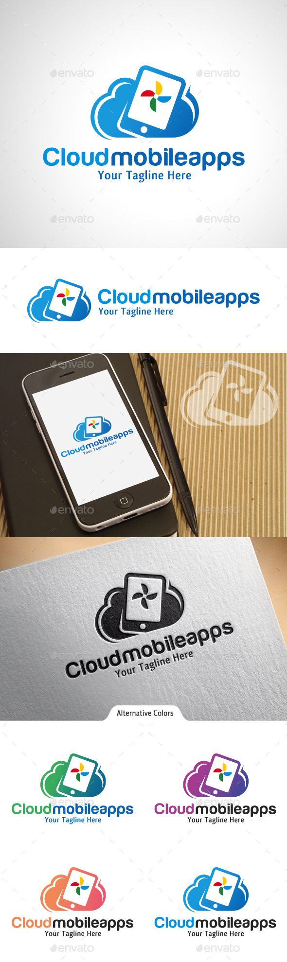 Cloud Mobile Apps Logo - Symbols Logo Templates