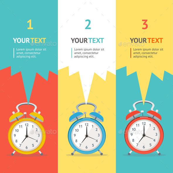 Vector Wakeup Clock Option Banner - Commercial / Shopping Conceptual