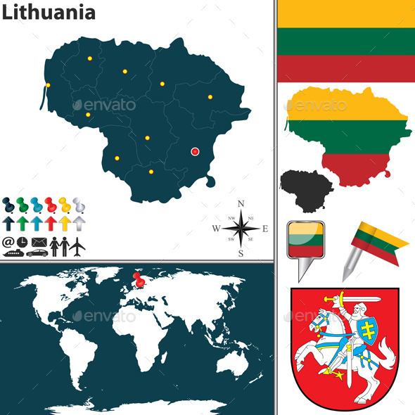 Map of Lithuania - Travel Conceptual