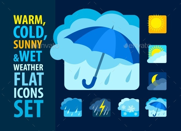 Weather Icons Set Flat - Web Elements Vectors