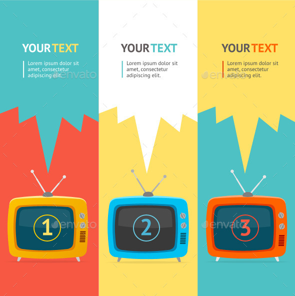 Vector Retro tv Option Banner - Business Conceptual