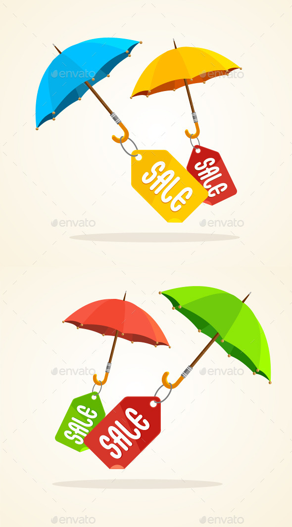 Vector Umbrellas with Sale Stickers - Commercial / Shopping Conceptual