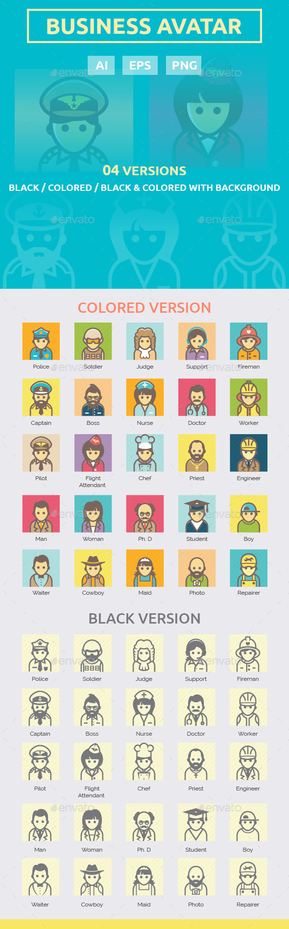 Business Avatar Icon Set - People Characters