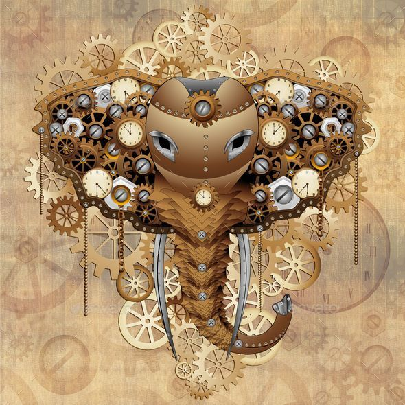 Steampunk Elephant Portrait - Animals Characters