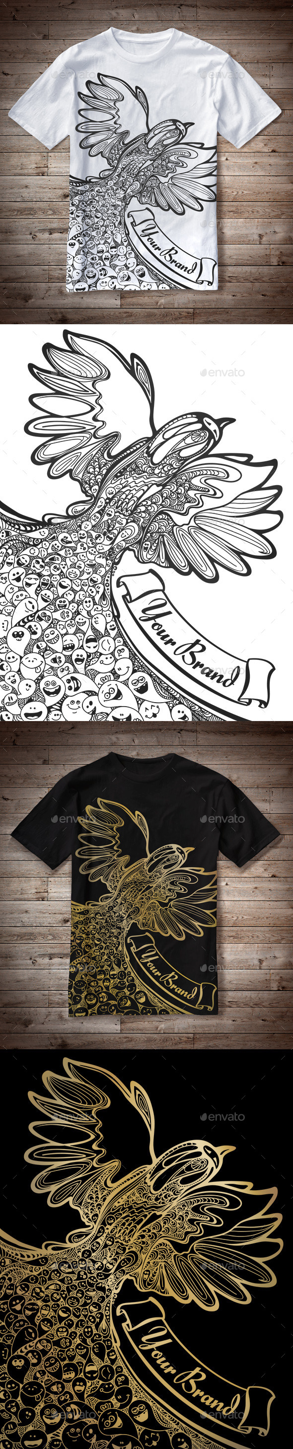 T-Shirt Illustration Bird Doodles - T-Shirts