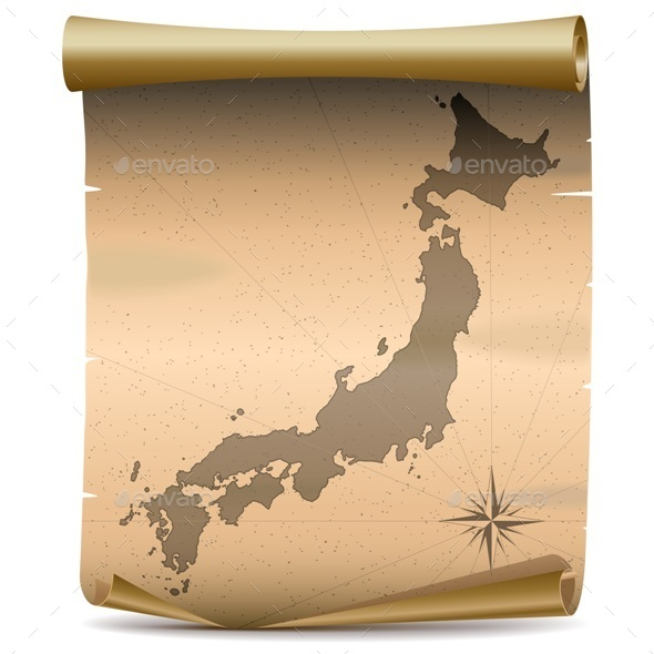 Vector Japan Vintage Map - Travel Conceptual