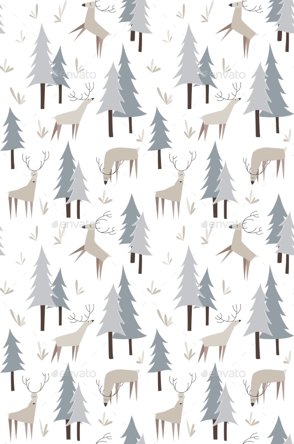 Deer and Trees Pattern - Backgrounds Decorative