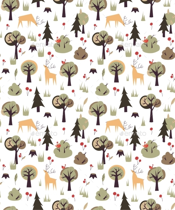 Forest Animals Pattern - Seasons Nature