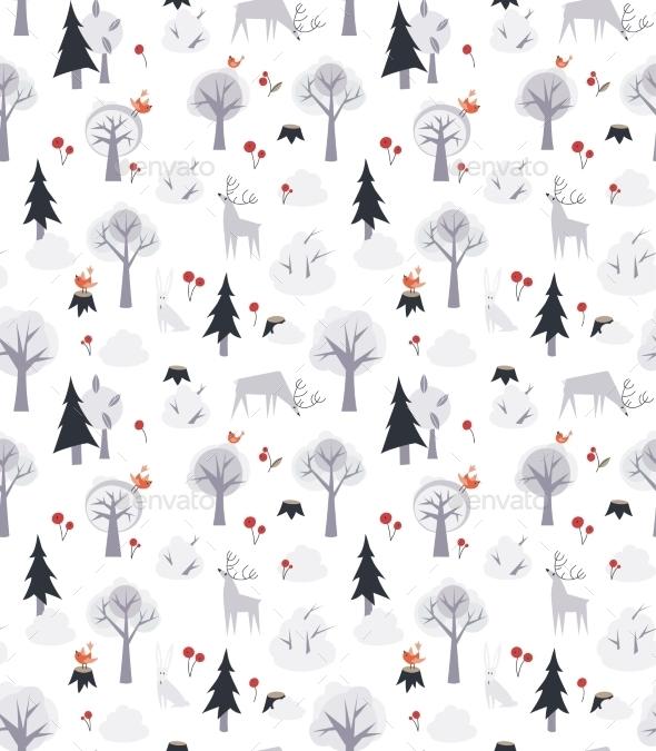 Deer and Trees Pattern  - Seasons Nature