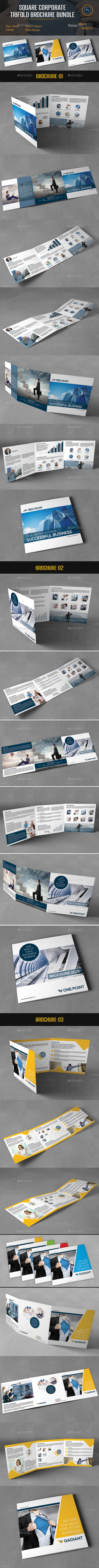 Square Corporate Trifold Brochure Bundle - Corporate Brochures