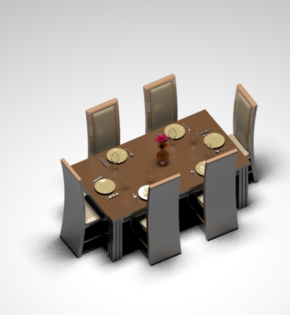 Dinning Table Set - 3DOcean Item for Sale
