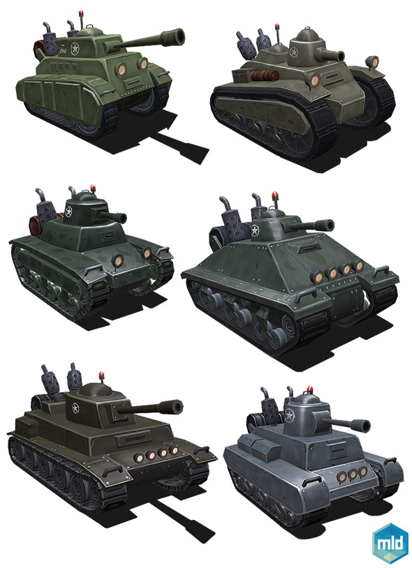 Low Poly Tank Set - 3DOcean Item for Sale