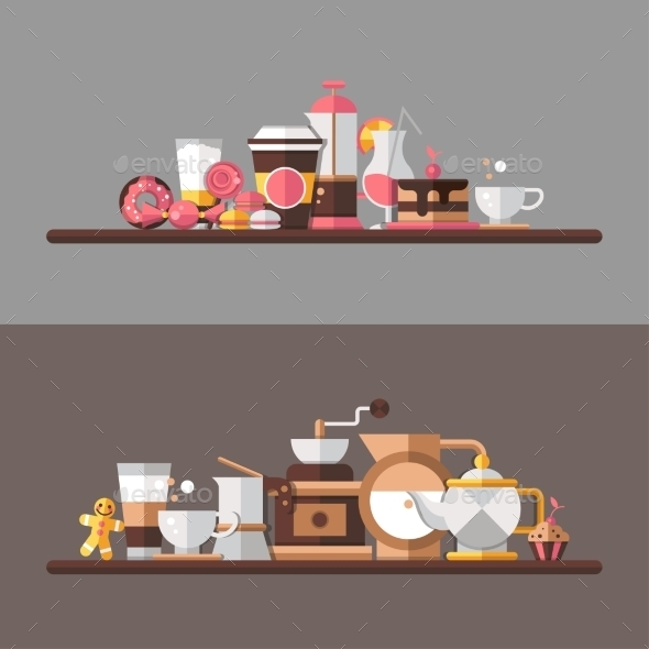 Coffee Shop Shelves  - Backgrounds Decorative