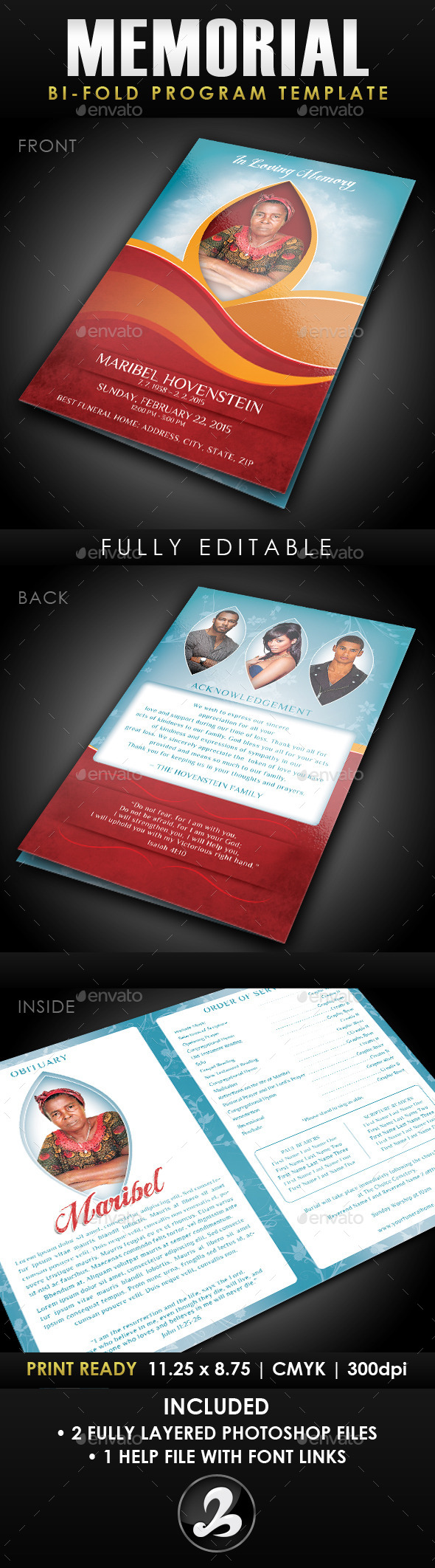 Memorial Program Template 1 - Informational Brochures