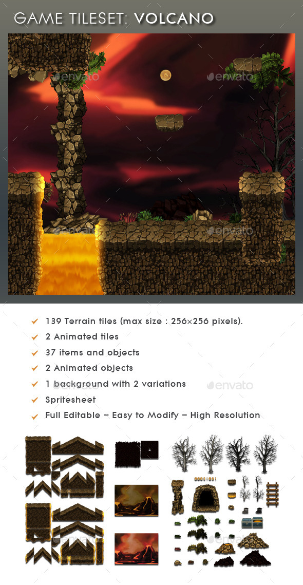 Platform Game Tileset 6: Volcano - Scenes Illustrations