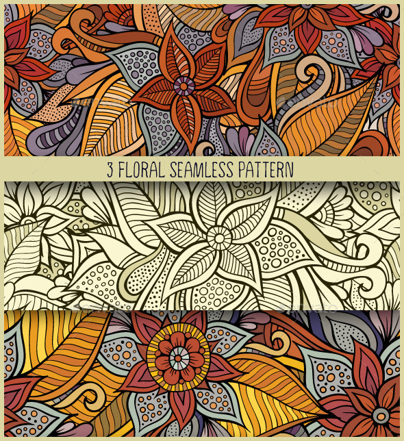 3 Floral Seamless Pattern - Patterns Decorative