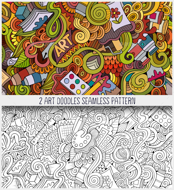 2 Art Doodles Seamless Pattern - Patterns Decorative