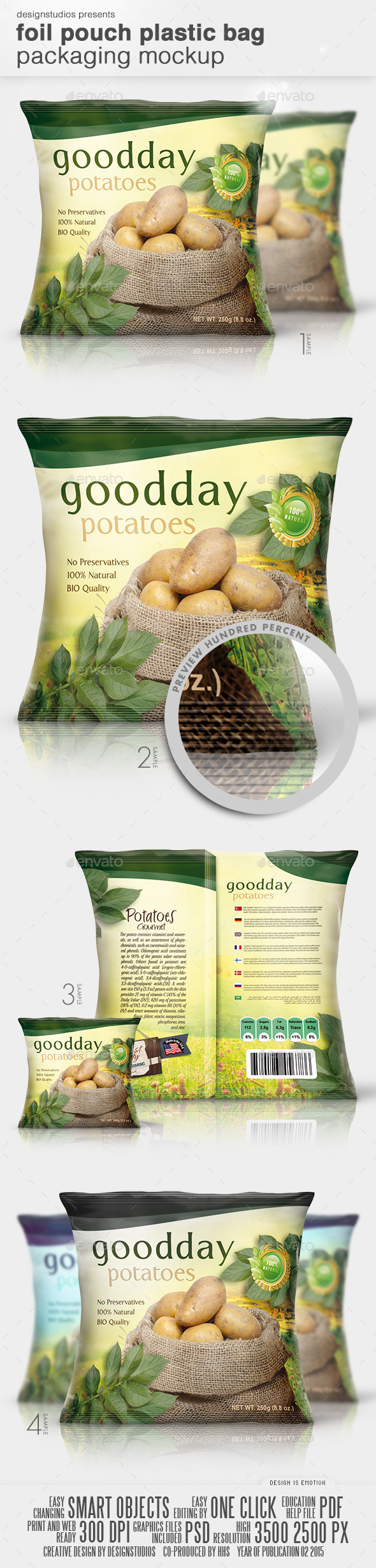 Foil Pouch Plastic Bag Packaging Mock-Up - Product Mock-Ups Graphics