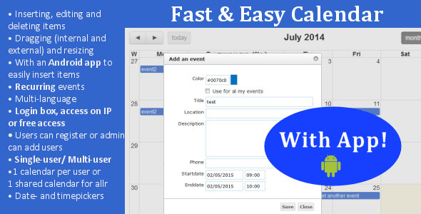 Fast & Easy Calendar with Android app - CodeCanyon Item for Sale