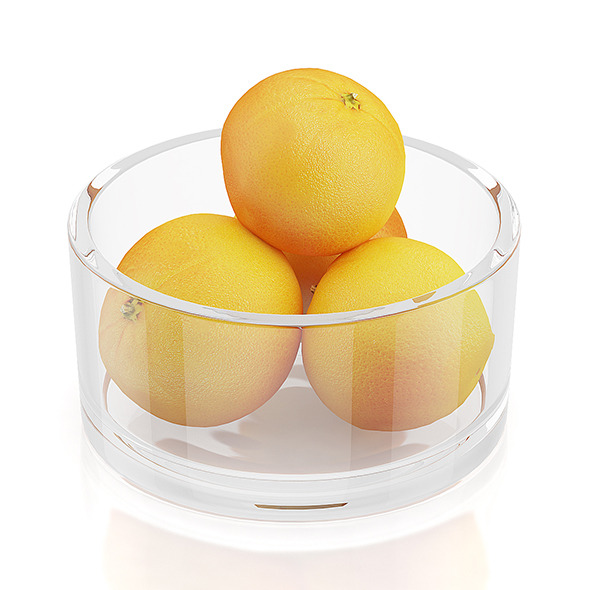 Oranges in glass bowl - 3DOcean Item for Sale