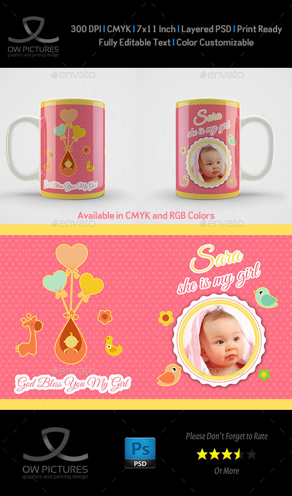 girl born mug art design template by owpictures graphicriver