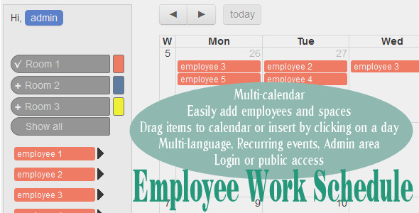 Employee Work Schedule / Multi-calendar - CodeCanyon Item for Sale