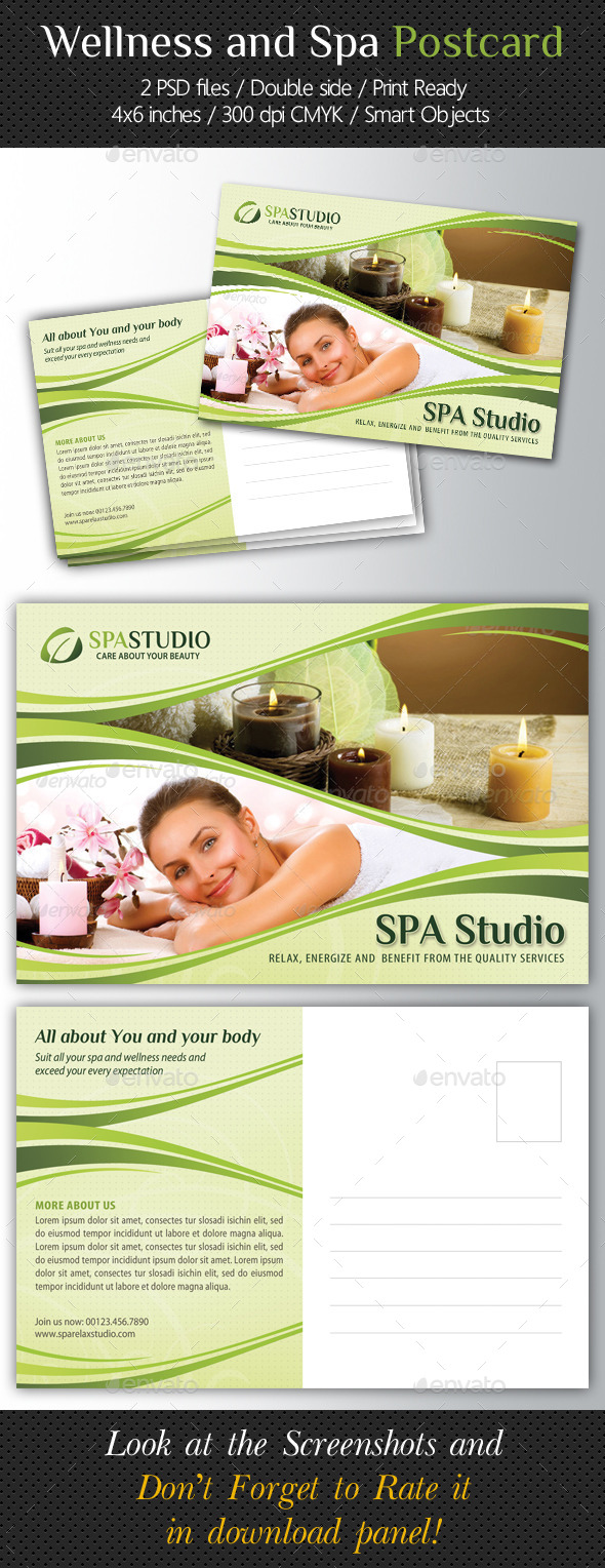 Wellness and Spa Postcard Template V02 - Cards & Invites Print Templates