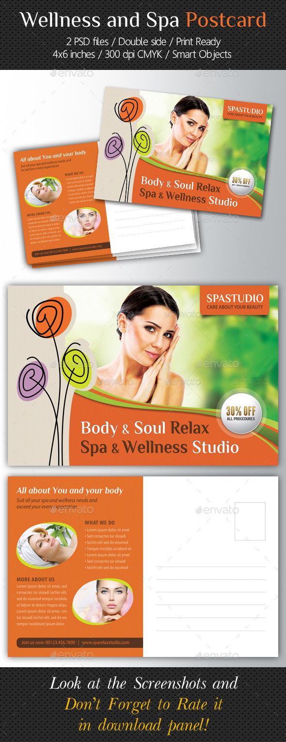Wellness and Spa Postcard Template V03 - Cards & Invites Print Templates