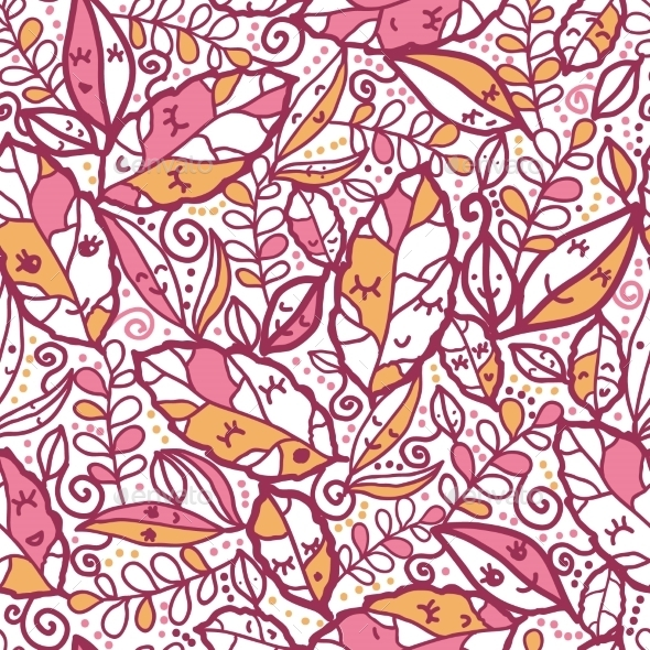 Cartoon Autumn Leaves Seamless Pattern - Seasons Nature
