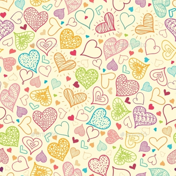 Doodle Hearts Seamless Pattern Background - Valentines Seasons/Holidays