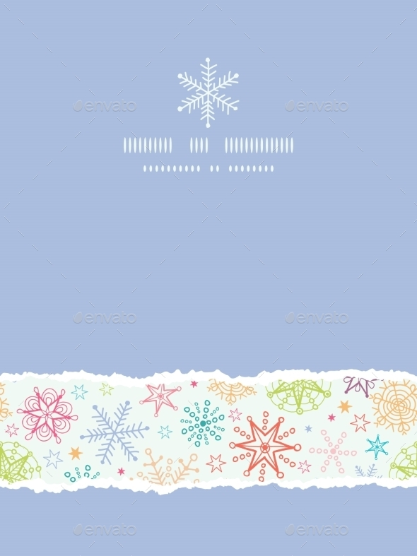 Colorful Doodle Snowflakes Vertical Torn Frame Sea - Christmas Seasons/Holidays