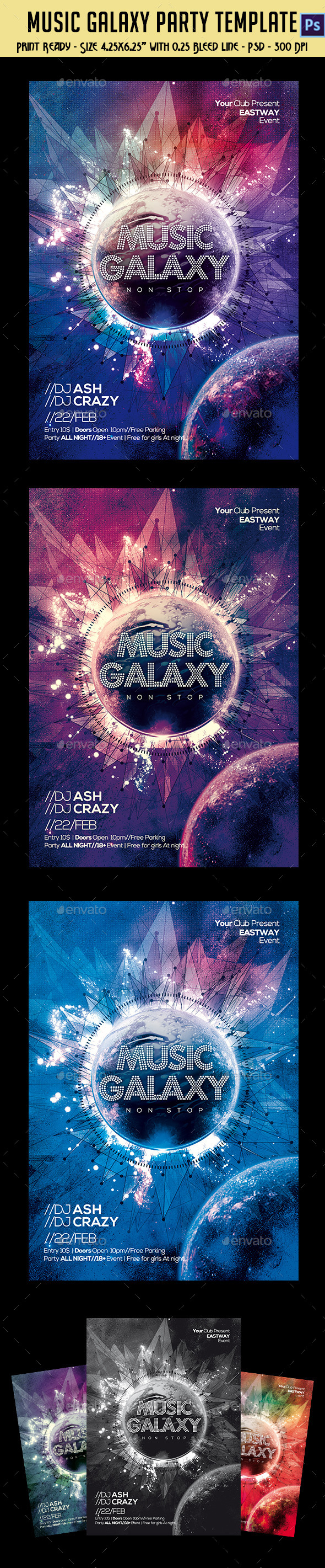 Music Galaxy Party Template - Clubs & Parties Events