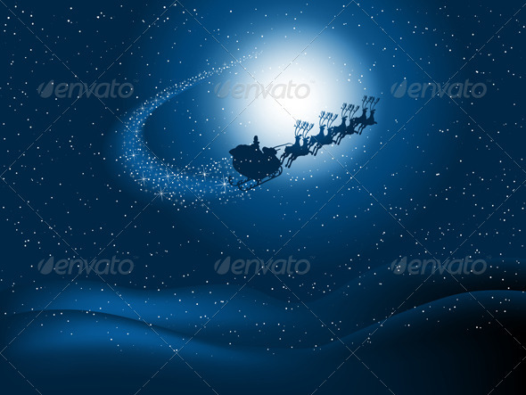Santa in the sky - Christmas Seasons/Holidays