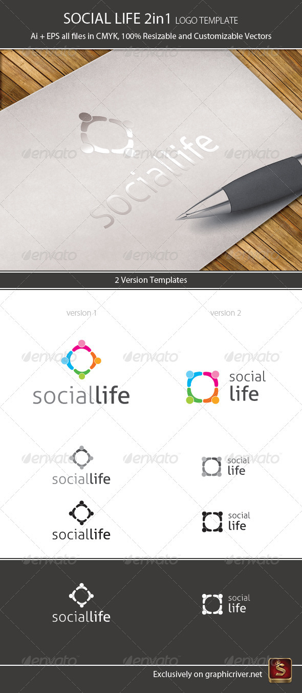 Social life logo template 2in1 by survivor graphicriver social life logo template 2in1 humans logo templates maxwellsz