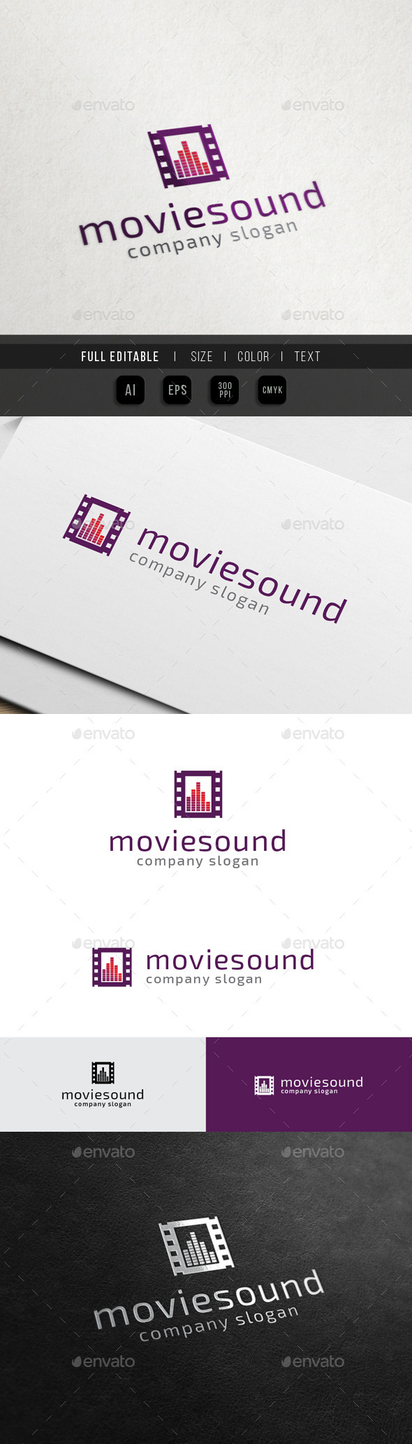 Movie Video Sound - Music Mixing - Objects Logo Templates