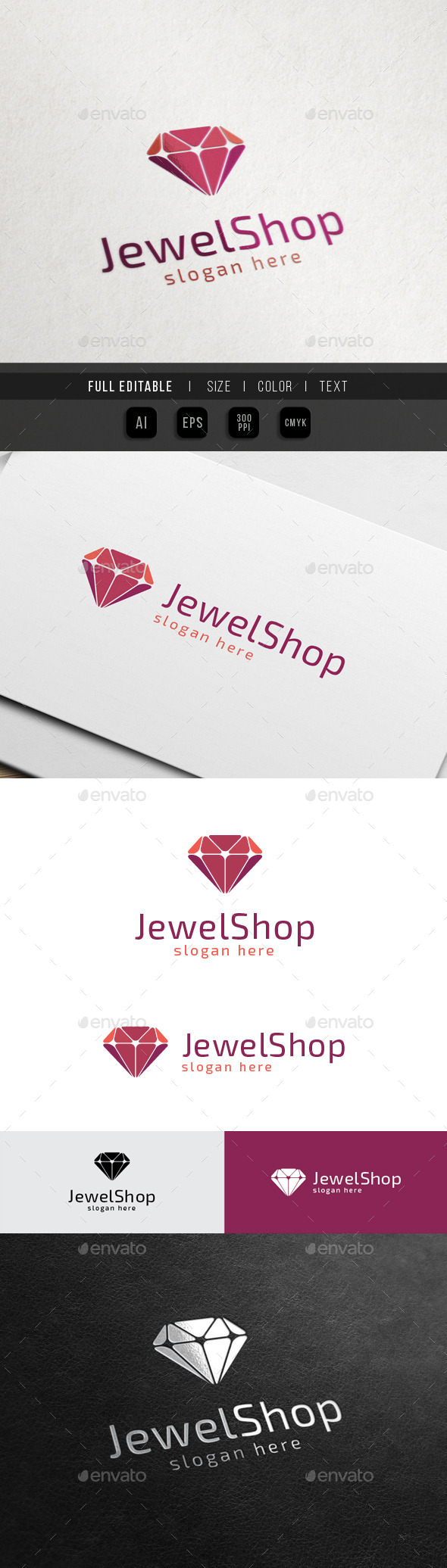 Jewelry Shop - Diamond Art - Objects Logo Templates