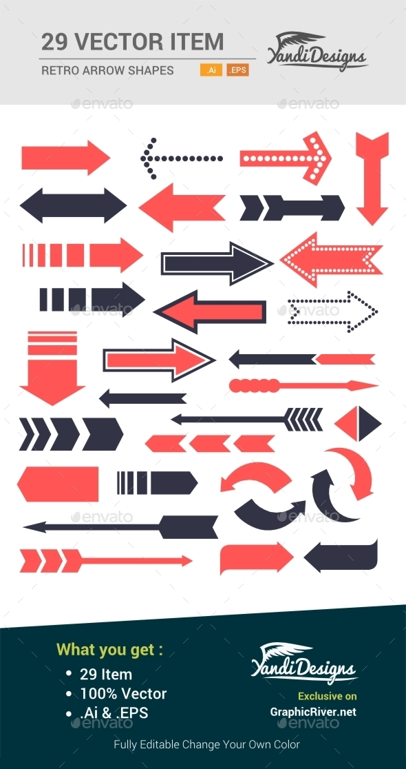 Retro Arrow Set - Decorative Vectors