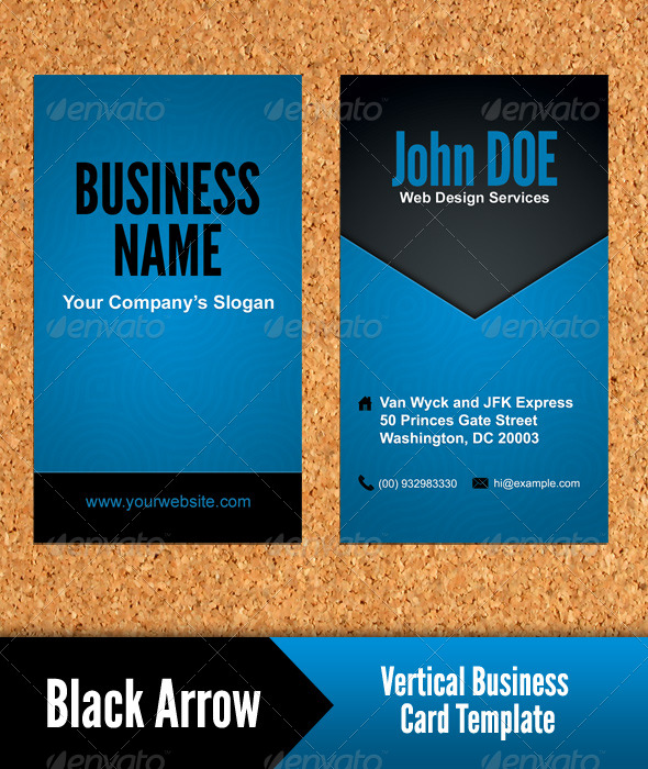 Black arrow vertical business card template by fatihturan black arrow vertical business card template creative business cards flashek Gallery