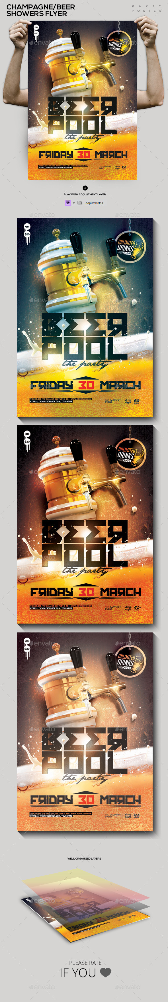 Beer/Champagne Pool Showers Flyer Flyer/Poster - Clubs & Parties Events