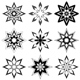 Nine Abstract Flowers/Snowflakes - GraphicRiver Item for Sale