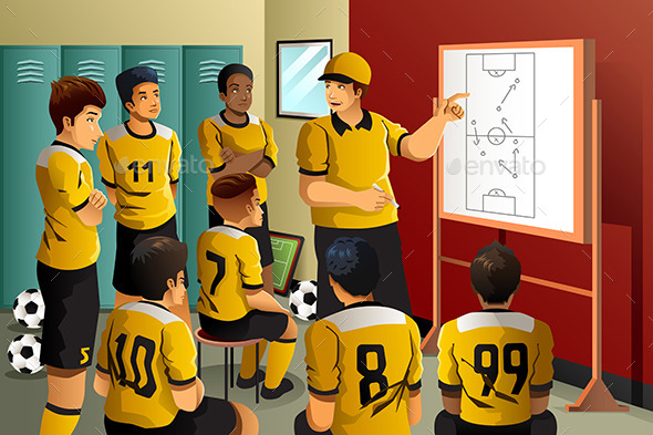 Soccer Players in Locker Room  - Sports/Activity Conceptual