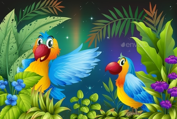 Two Birds in a Dark Forest  - Animals Characters