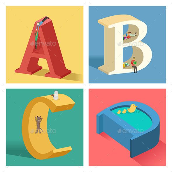 Alphabets Concept in 3D - Decorative Symbols Decorative