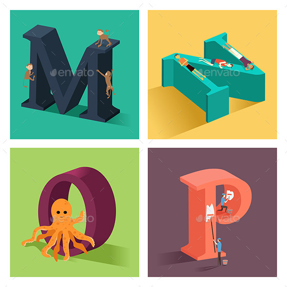 Alphabets Concept in 3D - Objects Vectors