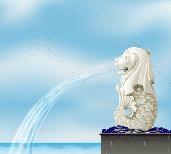 A Statue of a Merlion - Man-made Objects Objects