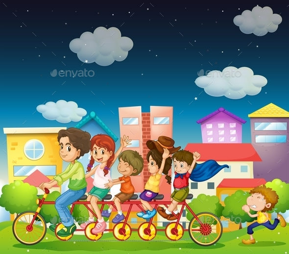 Family Riding Bikes - People Characters
