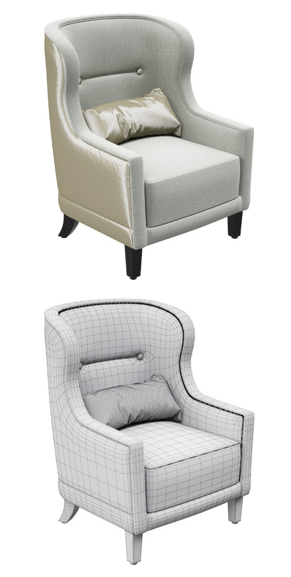 Classic armchair with pillow - 3DOcean Item for Sale