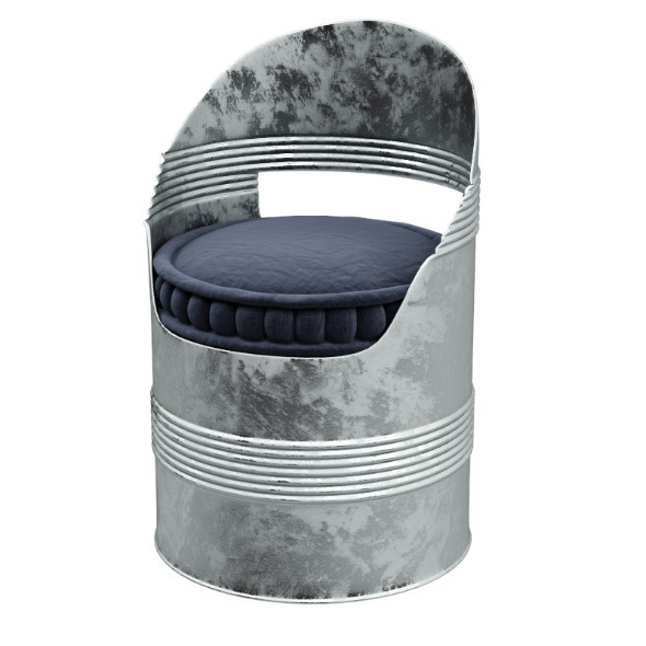 Barrel chair with soft cushion  - 3DOcean Item for Sale